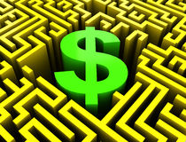 Dollar in maze Royalty Free Stock Photo