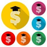 Dollar med den doktorand- hatten, avläggande av examenhatten på guld- symbol för dollartecken eller logoen, färguppsättning med l royaltyfri illustrationer