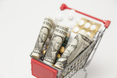 Dollar and medicine in cart Stock Photography