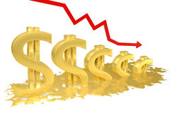 Dollar melts. Gold dollar sign melting into a puddle, the red graph is reduced Stock Images