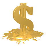 Dollar melts. Gold dollar sign melting in a puddle on a white background Royalty Free Stock Photo