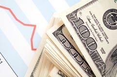 Dollar met financiële grafiek stock foto's