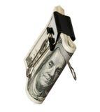 Dollar met klem stock afbeelding