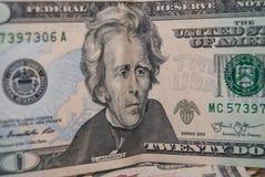 Dollar mit 20 Amerikanern Stockbilder
