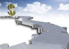 Dollar mit Puzzlespielpfad lizenzfreie abbildung