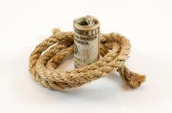 Dollar mit Seil Stockbild