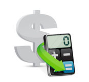 Dollar and modern calculator Royalty Free Stock Images
