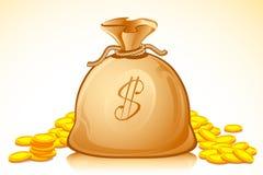 Dollar Money Bag. Illustration of money bag full of golden dollar coin Royalty Free Stock Photos