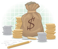 Dollar Money Bag. With Coins on Diagram Background Royalty Free Stock Photo