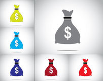 Dollar money bag icon set concept  design illustration art Royalty Free Stock Image