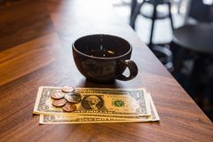 Dollar money, bill checking or tips. Stock Image