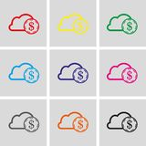 Dollar money cloud  icon stock vector illustration flat design. Set icon flat design style vector illustration Stock Photography