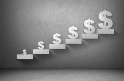 Dollar money currency sign from small to big size on staircase on grey background Stock Image
