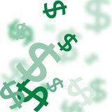 Dollar money currency symbol background. Pattern of the symbols of dollar currency.  Green vector background with signs of dollars. The pattern can be used for royalty free illustration