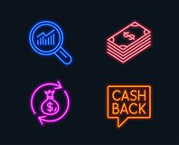 Dollar, Money exchange and Data analysis icons. Money transfer sign. Neon lights. Set of Dollar, Money exchange and Data analysis icons. Money transfer sign Royalty Free Stock Image