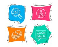 Dollar, Money exchange and Data analysis icons. Money transfer sign. Set of Dollar, Money exchange and Data analysis icons. Money transfer sign. Usd currency Stock Photos