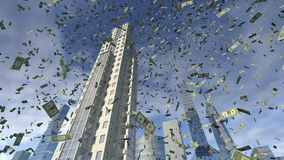 Dollar money fall from business buildings. Dollar money fall from above from the sky. An image of paper bills falling down from some modern 3D rendered buildings Stock Photo