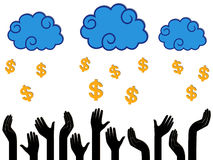 Dollar Money falling from the clouds in the human hands Stock Photography