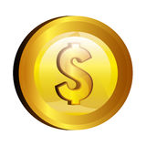 Dollar money gold icon Royalty Free Stock Images