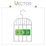 Dollar in money gray cage set vector format Royalty Free Stock Photos