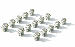 Dollar money houses in rows Royalty Free Stock Photography
