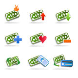 Dollar money icon set. Vector set of icons for the dollar with different actions, to be used as icon on financial and trading web sites as well as on web stores Stock Photos