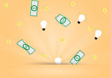 Dollar money and light bulb out from background Royalty Free Stock Image