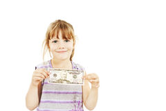 Dollar money little girl showing 50 dollar bill. Stock Image