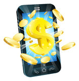 Dollar money phone concept. Illustration of mobile cell phone with gold dollar and coins Stock Photography