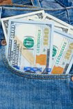 Dollar money in pocket Stock Image