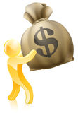 Dollar money sack gold person. A gold person mascot holding a giant money sack with a dollar sign on it Royalty Free Stock Photography