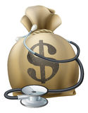 Dollar Money Sack and Stethoscope Royalty Free Stock Photography