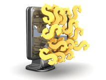 Dollar Money Sign on the Monitor Screen Stock Image
