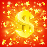 Dollar money star concept. Exciting financial success concept with gold dollar sign flying out of background with stars Stock Image