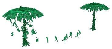 Live Cash, Money Trees. Dollar money symbol two trees character cartoon, 3d illustration, horizontal, isolated, over white Royalty Free Stock Image