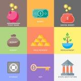 Dollar, money tree, purse, coin box pig, bank Stock Image
