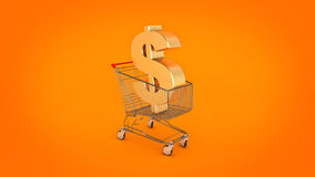 Dollar money trolley concept. Stock Image