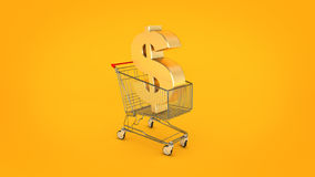 Dollar money trolley concept. Stock Images