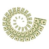 Dollar money vortex. Set a various kind of money. Dollar money vortex bills fly. Flat vector cartoon money illustration. Objects isolated on a white background Stock Photo