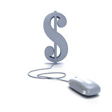 Dollar and mouse. Dollar sign connected to a computer mouse stock illustration