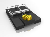 Dollar mouse trap. A mouse trap with a dollar symbol Stock Image