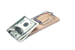 Dollar in a mousetrap Stock Images