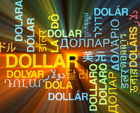 Dollar multilanguage wordcloud background concept glowing Royalty Free Stock Image