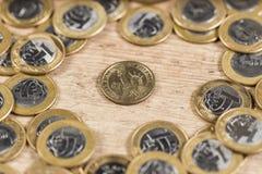 1 dollar mynt i mitt av flera verkliga mynt 1 på ett trä Royaltyfria Foton