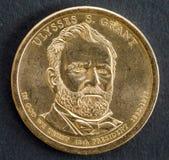 1 dollar mynt med bilden av Ulysses S Lån 18th president av Amerikas förenta stater Arkivbilder
