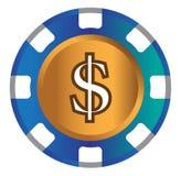 Dollar-mynt temadesign för kasinobegrepp royaltyfri illustrationer