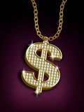 Dollar necklace. With golden chains over a purple background Royalty Free Stock Photos