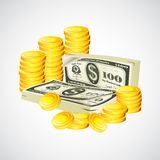 Dollar note and coin Stock Photo