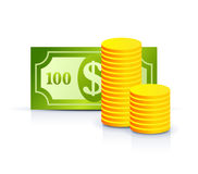 Dollar note and coins Royalty Free Stock Photos