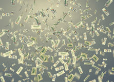 Dollar note falling down over grey. Background royalty free illustration